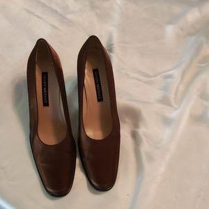 Brown fabric heels.